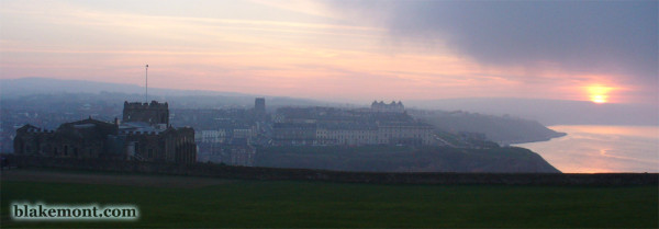 Sunset over Whitby, East Cliff, panoramic view