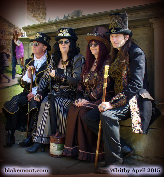 Whitby Goth Weekend, April 2015. Photo, steampunk men and a woman