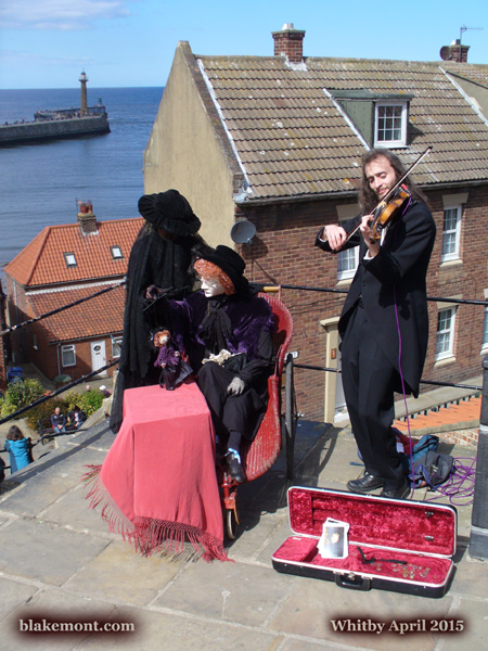 Whitby Goth Weekend, April 2015. Photo. Street performance.
