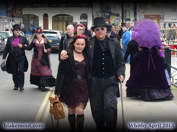 Whitby Goth Weekend, April 2015. Photo of Gothic men and women in Whitby